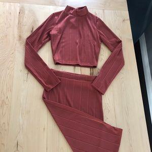 Lulus 2pc Mock Turtleneck + Skirt set